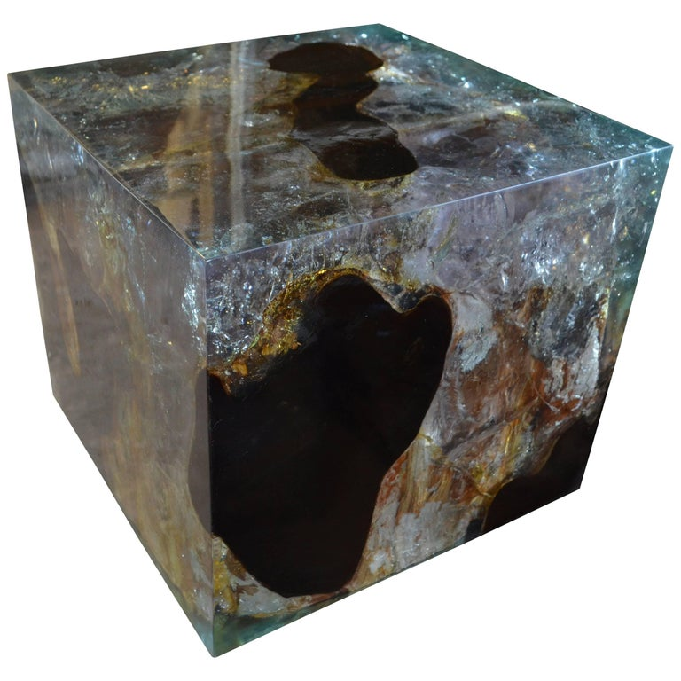 Andrianna Shamaris Cracked Resin Side Table For Sale