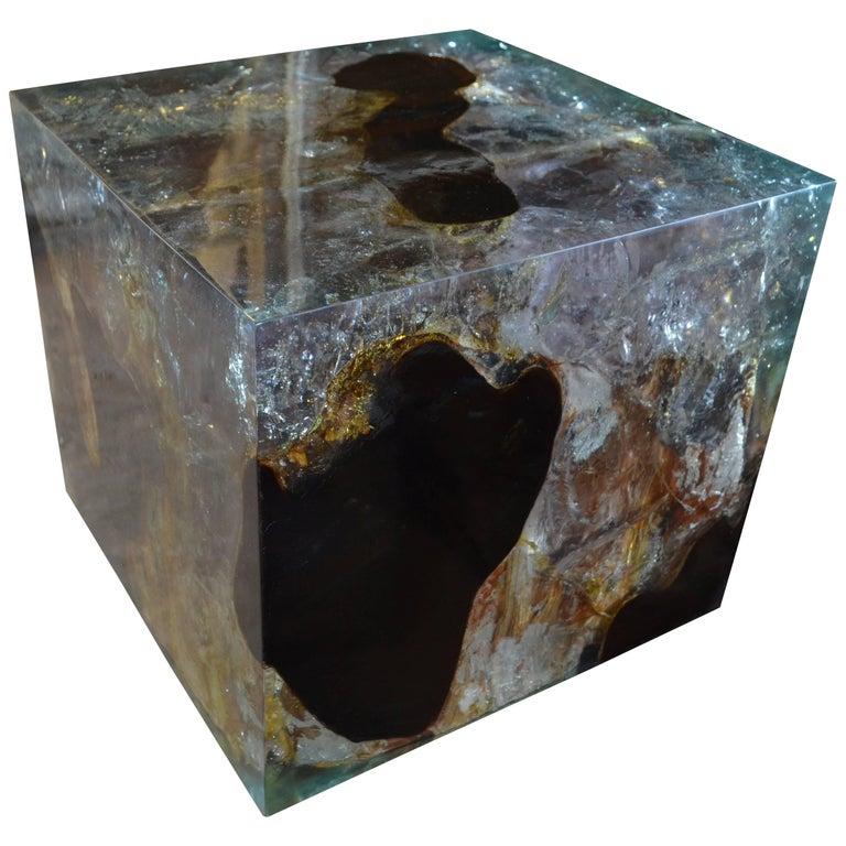 Andrianna Shamaris Cracked Resin Side Table