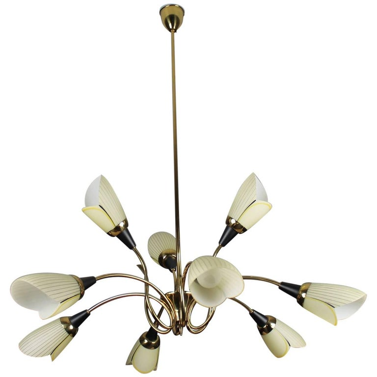1960s Brass Chandelier with Opaline Glass Tulip Shades by Lustrerie Massive