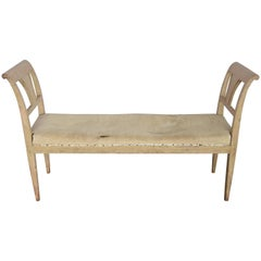 Early 19th Century Swedish Painted Sage Bench with Original Paint and Linen
