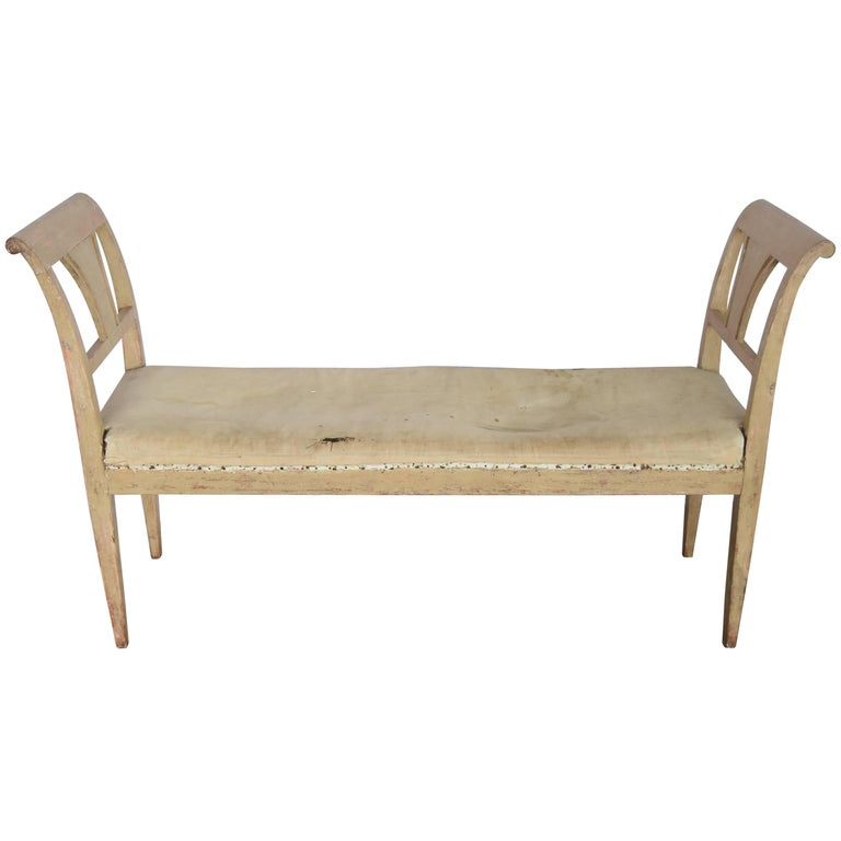 Early 19th Century Swedish Painted Sage Bench with Original Paint and Linen For Sale