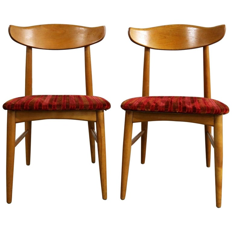 Pair of Mid-Century Modern Birchcraft Danish Style Side Chairs by Baumritter