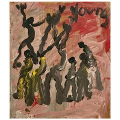 Purvis Young Modernist Abstract Painting of Modern Dancers on Board