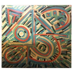 Large Richard Kendall Signed Oil Painting Abstract Art Midcentury Style, 1980s