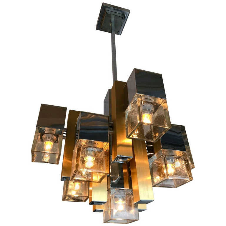 Cubic Chandelier by Sciolari for Stilkronen, Italy, 1970s