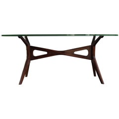 1950s Carlo Mollino Style Italian Glass and Solid Walnut Dining Table