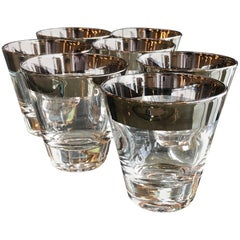 Set of seven Mid-Century Modern Dorothy Thorpe Overlay Shot Cocktail Glasses
