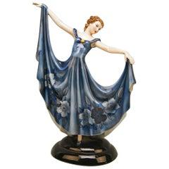 Keramos Lady Dancer Art Deco Blue Dress Model 2030 by Stefan Dakon