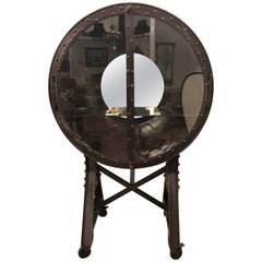 Large and Impressive Industrial Ships Port Hole Bar Cabinet with Mirrored Back
