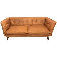 Modern Leather Hand-Stitched Hollywood Regency Style Couch or Sofa