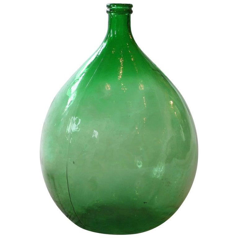 Large Italian Handblown Green Glass Demijohn Bottle For Sale At 1stdibs