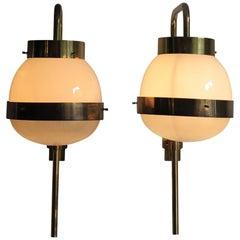 "1960 Sergio Mazza Italian Glass Brass Wall Lamps or Sconces ""Delta"" for Artemide"