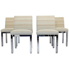 Mid-Century Modern Set of Four Milo Baughman for DIA Chrome Dining Chairs, 1970s
