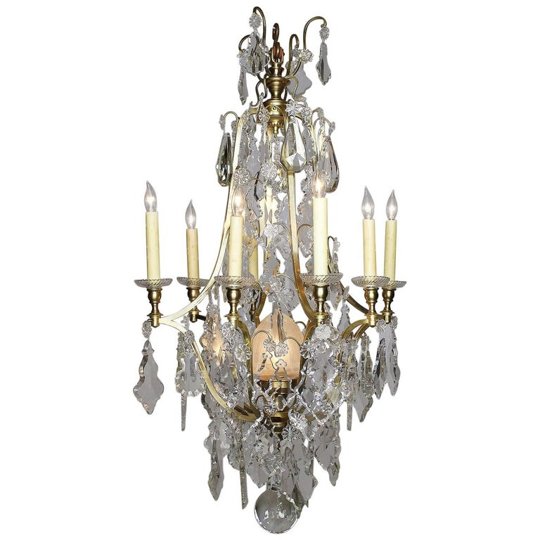 French Louis XV Style Gilt Bronze and Cut-Glass 'Crystal' Nine-Light Chandelier