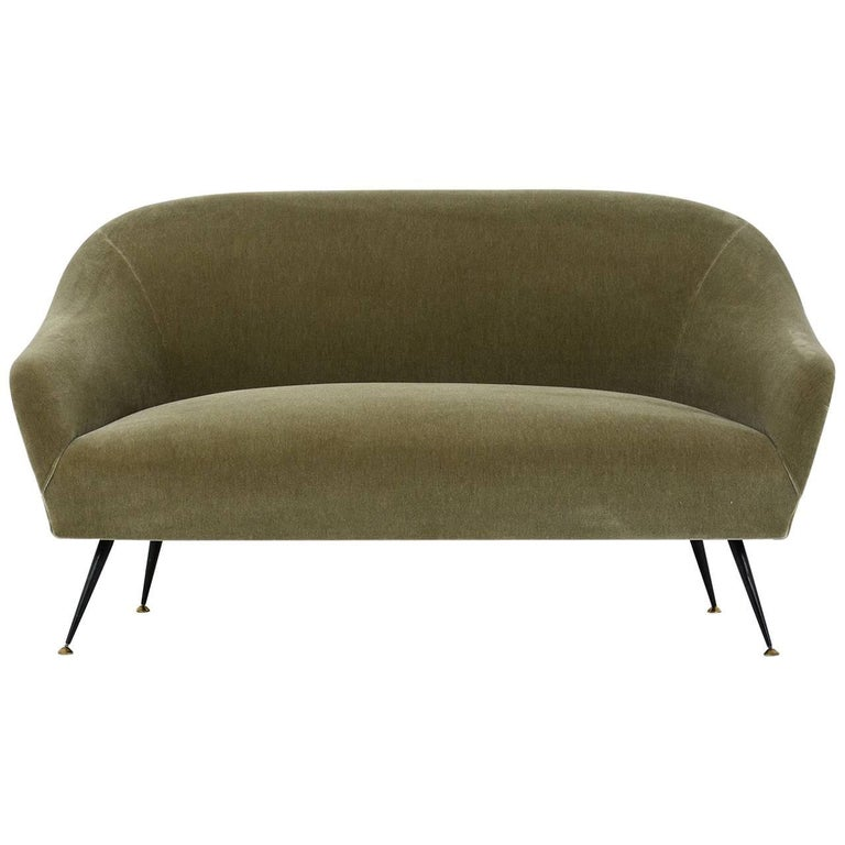 Italian Mid Century Modern Antonio Gorgone Sofa With Mohair Upholstery For