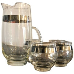Dorothy Thorpe Silver Overlay Martini Pitcher and Set of Four Glasses