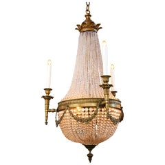 French Bronze and Crystal Rope Sac Pearl Chandelier with Six Lights, circa 1890