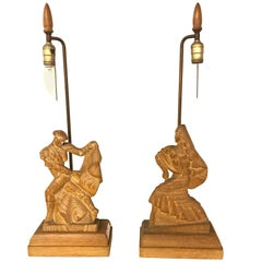 Pair of Art Deco Style Pickled Finish Wood Carved Table Lamps