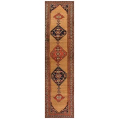 Antique Rust and Blue Persian Bidjar Runner Rug