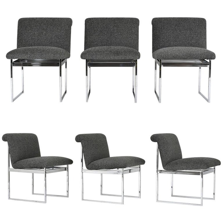 Set of Six Milo Baughman Style Dining Chairs For Sale
