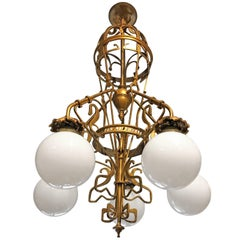 Large Art Nouveau Wrought Iron and Brass Chandelier Gustave Serrurier-Bovy Style