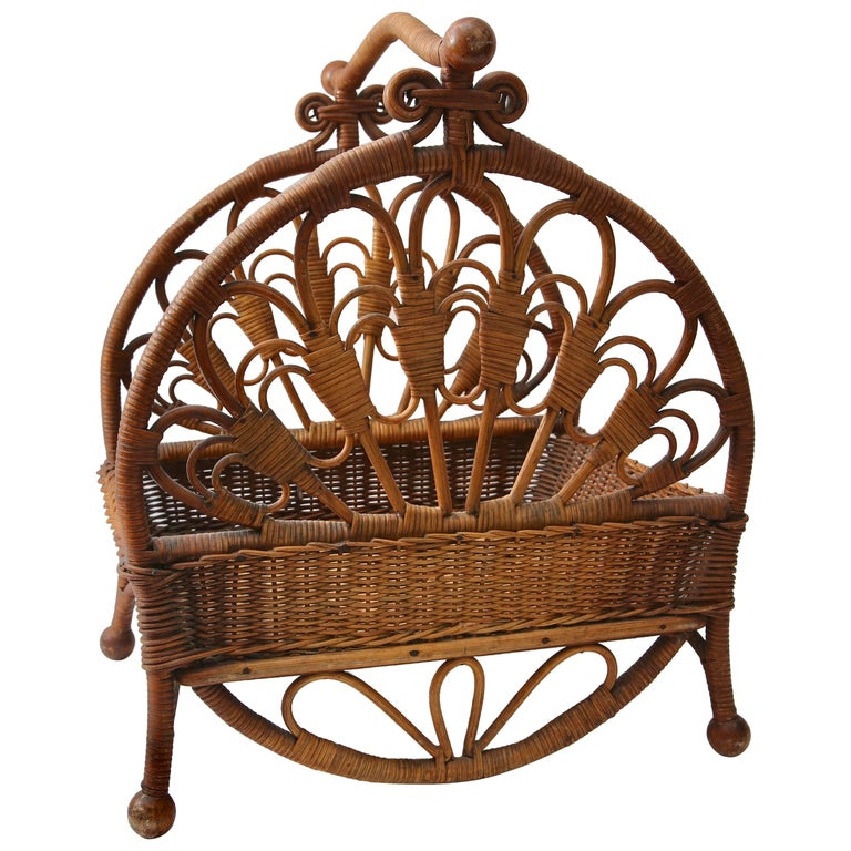 Woven wicker and rattan storage basket by wakefield reed for Wicker reed