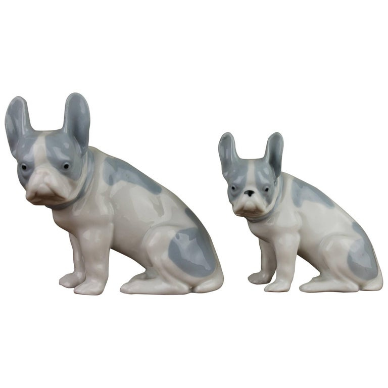 Pair of German Blue and White Porcelain French Bulldog Figurines