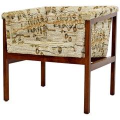Mid-Century Modern Dunbar Wood Framed Cube Accent Lounge Chair