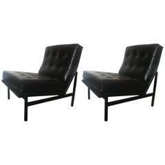 Florence Knoll Parallel Bar Leather Lounge Chairs, Pair for Knoll, 1958