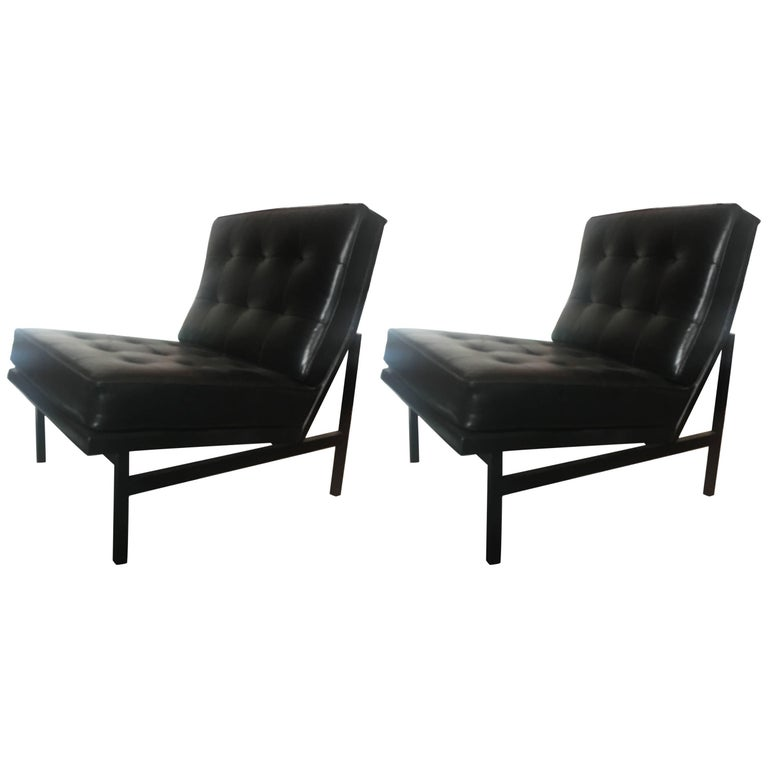 Florence Knoll Parallel Bar Leather Lounge Chairs, Pair for Knoll, 1958 For Sale
