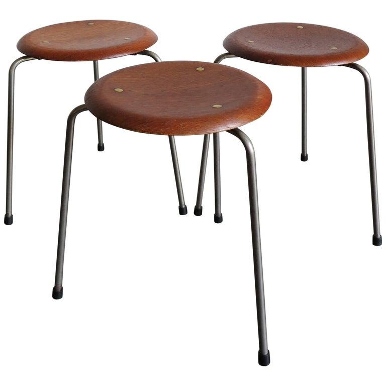 1950s Arne Jacobsen Circle Scandinavian Teak Dot Stool For