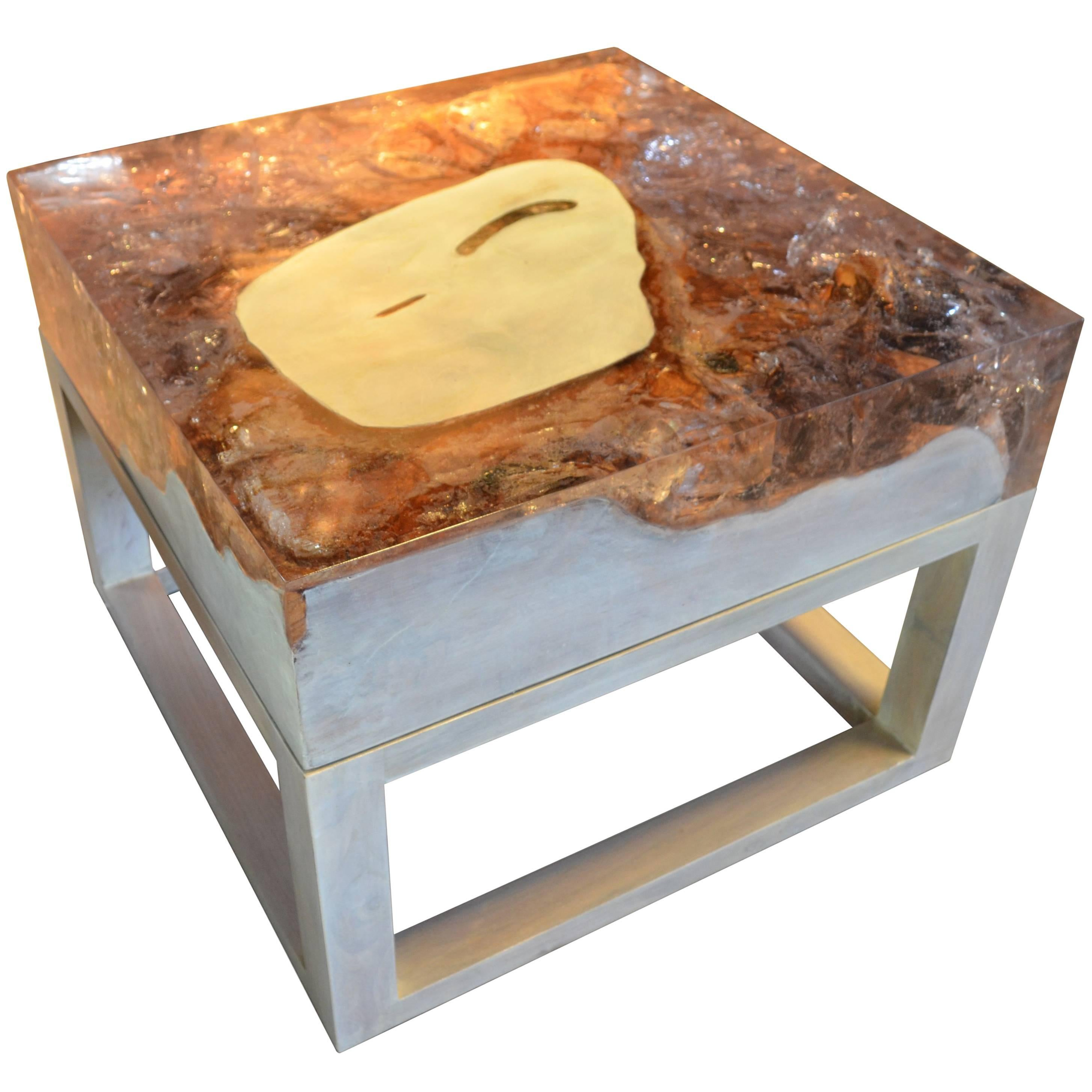 Andrianna Shamaris Cracked Resin Side Table or Coffee Table
