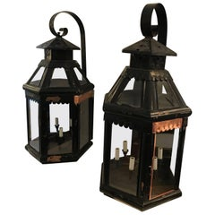 Monumentally Enormous Pair of Antique Copper Painted Lanterns