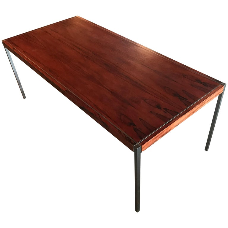 1960s Richard Schultz Rosewood and Chrome Conference Dining Table or Desk