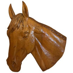 Equestrian Lover's Hand-Carved Wooden Horse Head