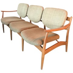 Midcentury Danish Style Three-Seat Sculptural Wood Frame Sofa