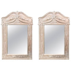 Pair of Pretty French Style Bleached Pine Mirrors