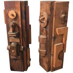 Beautiful Midcentury Wood TOTEM Sculptures 1960s Custom Art Planters