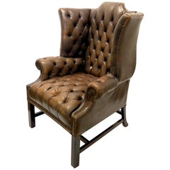 Antique Chesterfield Tufted Distressed Leather Tall Wingback Chair in Brown