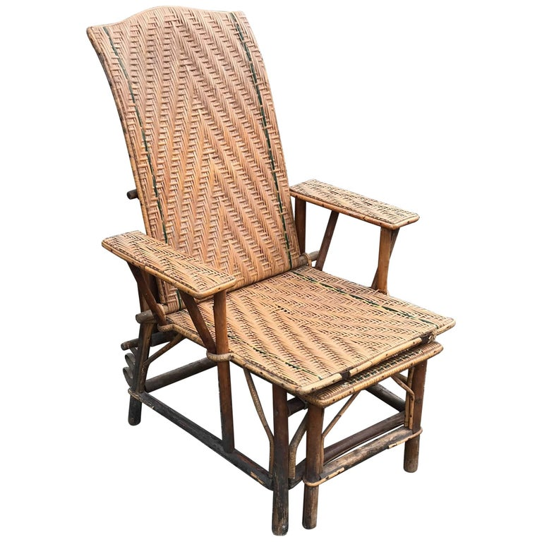 Antique Rattan And Wood Deck Chair Or Lounge Chair For