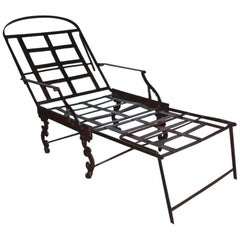 Victorian Folding Iron Campaign Lounge Chair