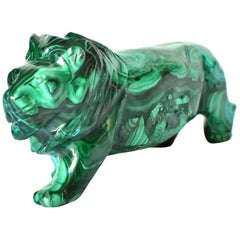 Natural Malachite Lion Sculpture, 1.4 Lb