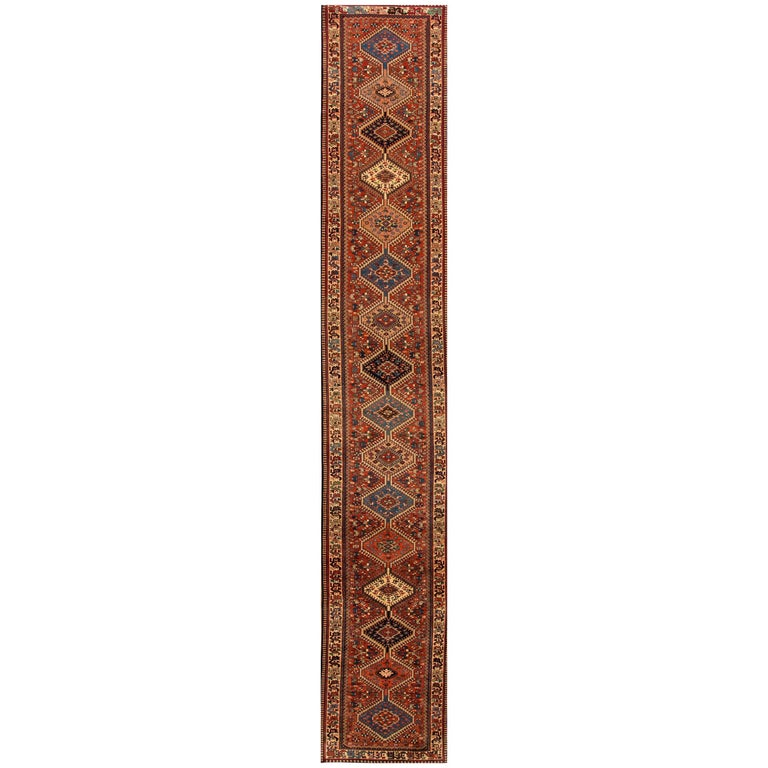 Vintage Rust and Blue Persian Runner Rug