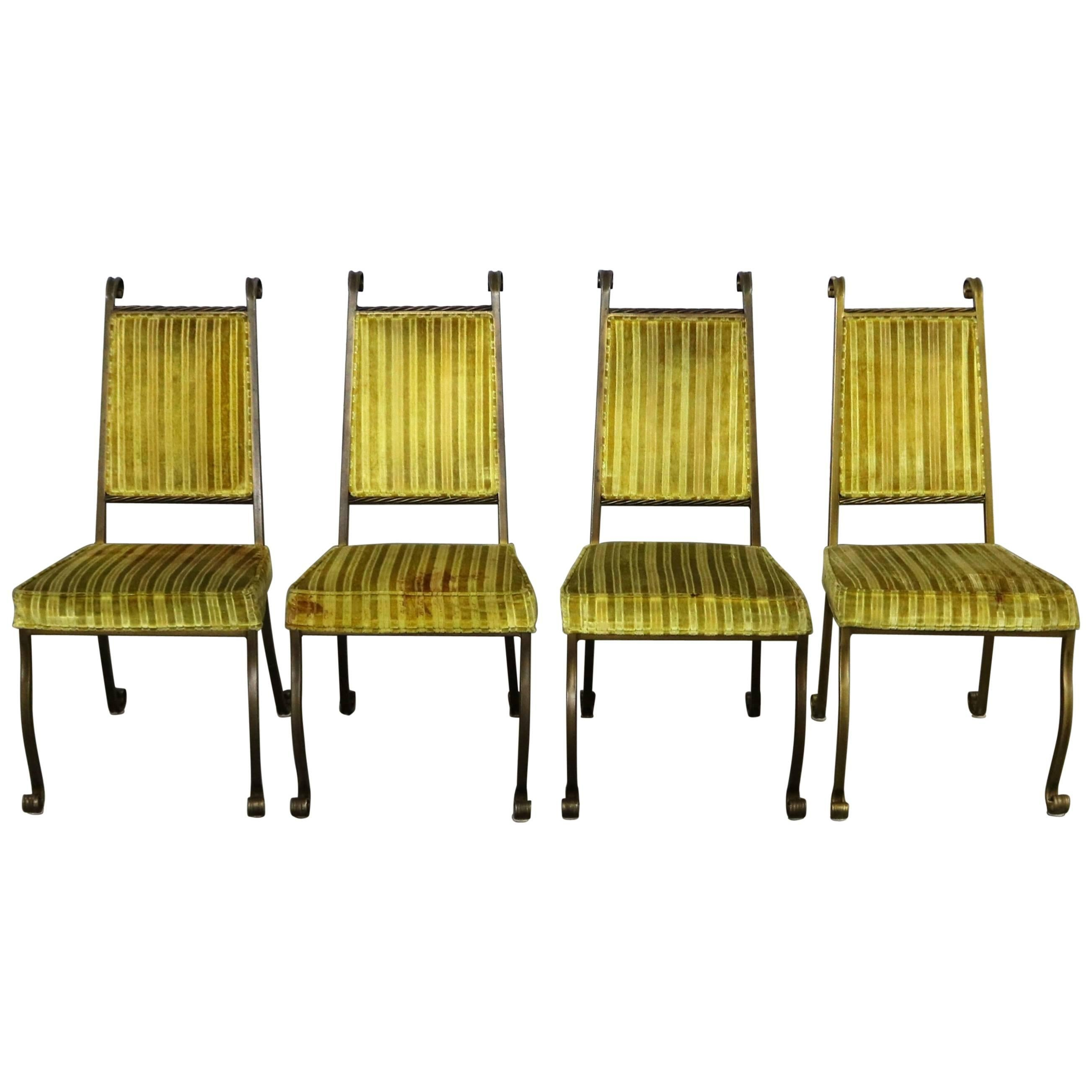 Four Hollywood Regency Wrought Iron Dining Chairs By Swirl Craft Of Sun  Valley For Sale