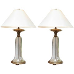 Pair of Vintage Chapman Seeded Glass Lamps