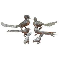 Set of Six Silver Plate Birds