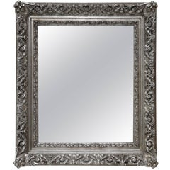 Antique Baroque Silver Gilt Carved and Gessoed Mirror