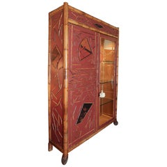 Antique Regency Style Red Lacquer and Bamboo Cabinet