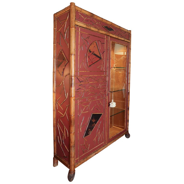 Antique regency style red lacquer and bamboo cabinet for for Bamboo kitchen cabinets for sale