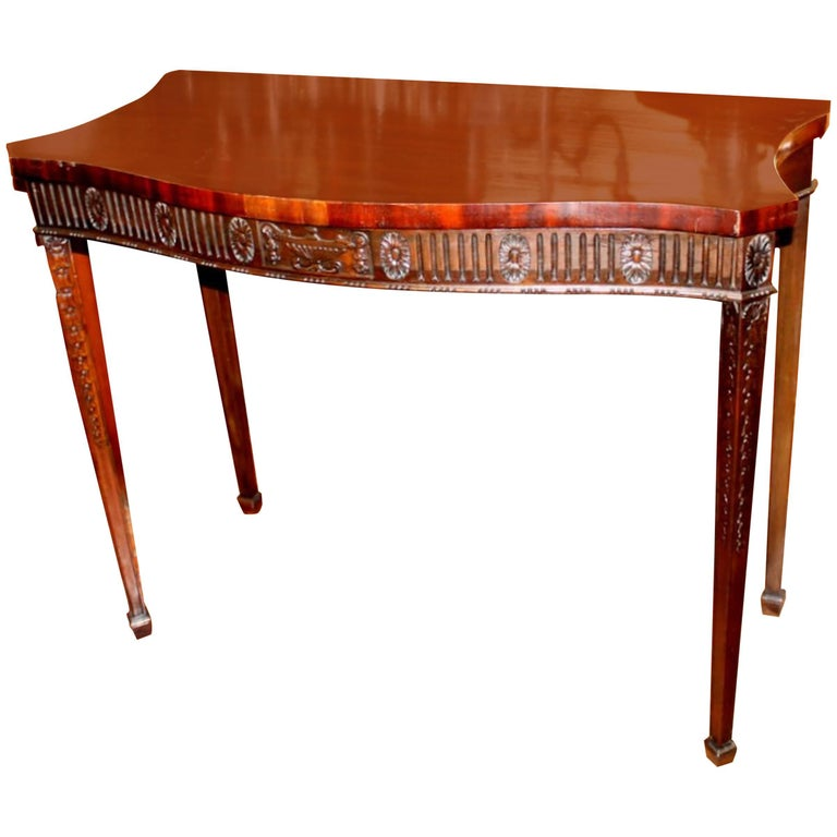 """Antique English Hand-Carved Mahogany """"Adam"""" Style Serpentine Server or Huntboard"""